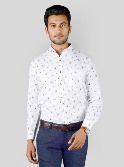 White Printed Slim Fit Party Wear Shirt | Greenfibre