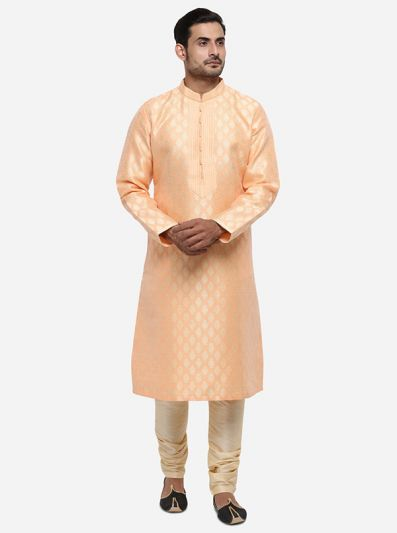 Light Peach & Golden Kurta Set | Azania
