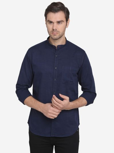 Navy Blue Solid Slim Fit Casual Shirt  | Greenfibre