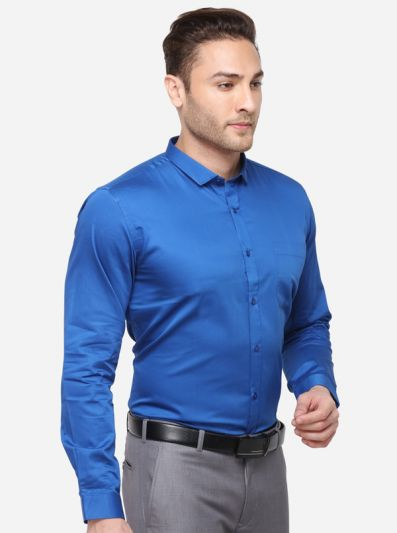 Royal Blue Solid Slim Fit Party Wear Shirt | Greenfibre