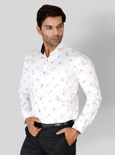 Rustic Orange & Black Printed Slim Fit Party Wear Shirt | Greenfibre