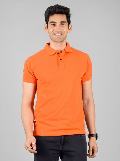 Bright Orange Solid Slim Fit Polo T-shirt | Greenfibre