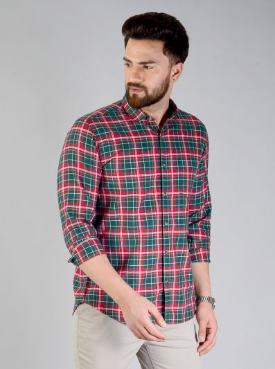 Bottle Green & Red Checked Slim Fit Casual Shirt | JB Sport