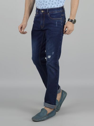 Dark Blue Washed Straight Fit Jeans | Greenfibre