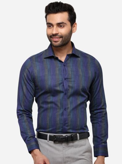 Violet Striped Slim Fit Party Wear Shirt | Wyre
