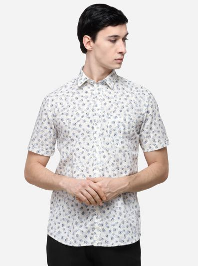White Smart Fit Printed Casual Shirt   Greenfibre