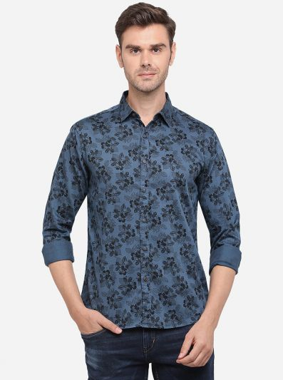 Legion Blue Printed Slim Fit Casual Shirt | Greenfibre