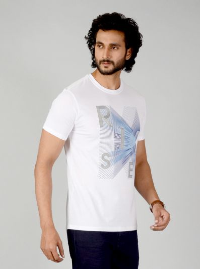White Printed Slim Fit T-shirt | JB Sport