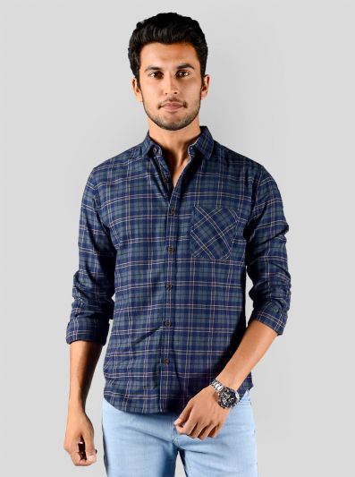 Blue & Olive Green Checked Slim Fit Casual Shirt | Greenfibre