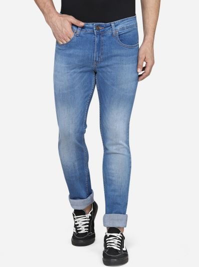 Light Blue Washed Narrow Fit Jeans | Greenfibre