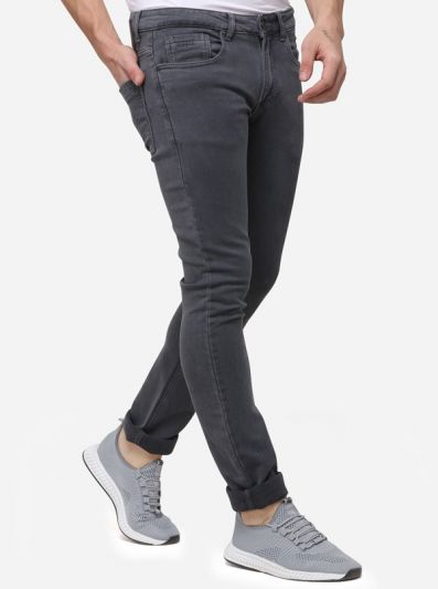 Grey Narrow Fit Solid Jeans | Greenfibre