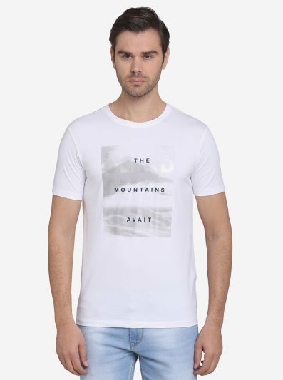 White Printed Slim Fit T-Shirt  | JadeBlue Sport
