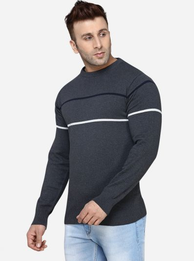 Anthra Melange Striped Slim Fit T-Shirt | JadeBlue Sport