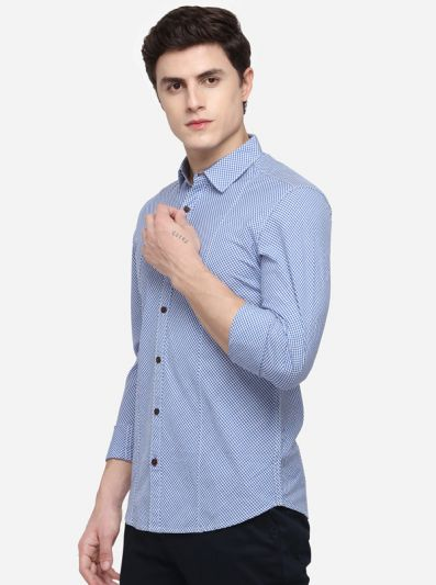 Sky Blue Slim Fit Checked Casual Shirt | Greenfibre