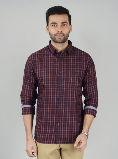 Insignia Blue Checked Slim Fit Casual Shirt | Greenfibre