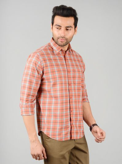 Apricot Orange Checked Regular Fit Casual Shirt | Greenfibre