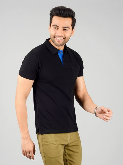 Jet Black Solid Slim Fit Polo T-shirt | Greenfibre