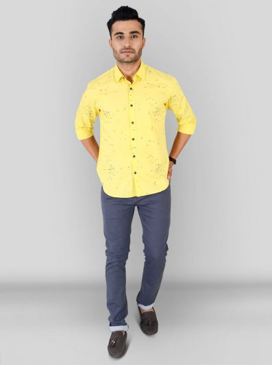 Lime Yellow Printed Slim Fit Casual Shirt | Greenfibre