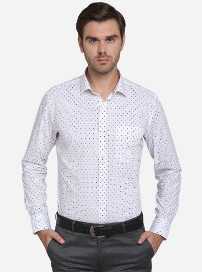 White & Navy Blue Printed Slim Fit Formal Shirt  | Metal