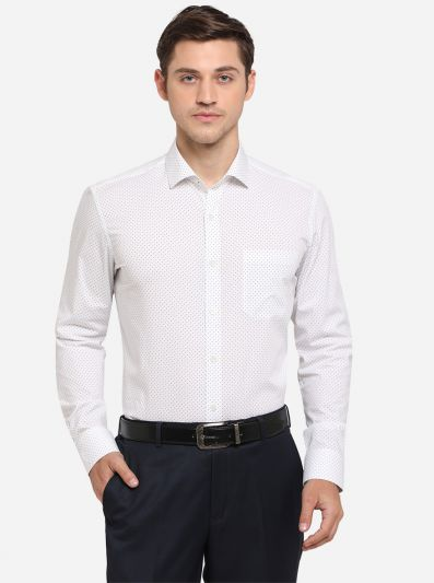 White & Blue Dotted Slim Fit Formal Shirt | Metal