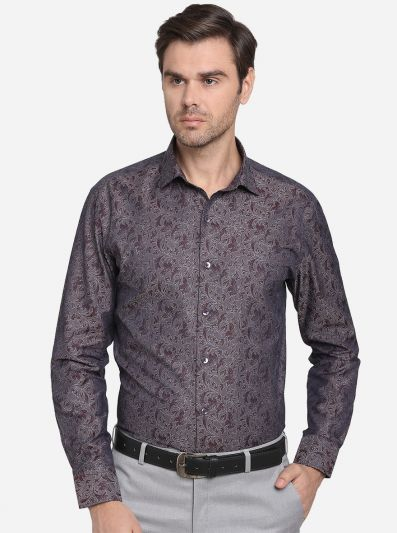 Coffee Brown Printed Slim Fit Formal Shirt  | Metal