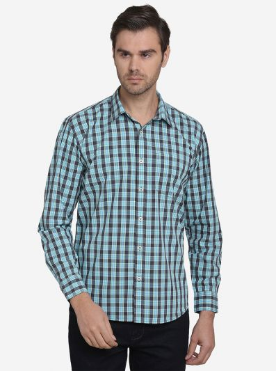 Green & Blue Checked Regular Fit Casual Shirt  | Greenfibre