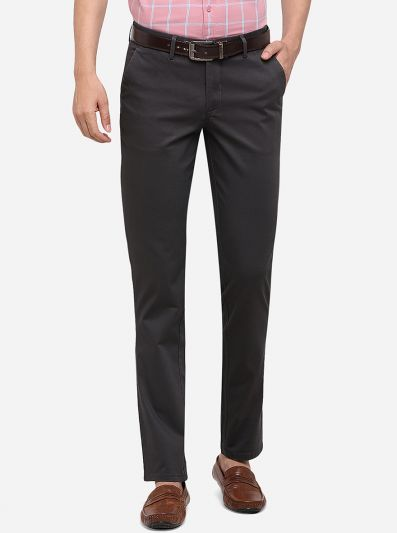 Dark Grey Solid Slim Fit Casual Trouser | JadeBlue