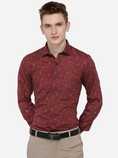 Red Printed Regular Fit Party Wear Shirt | Wyre