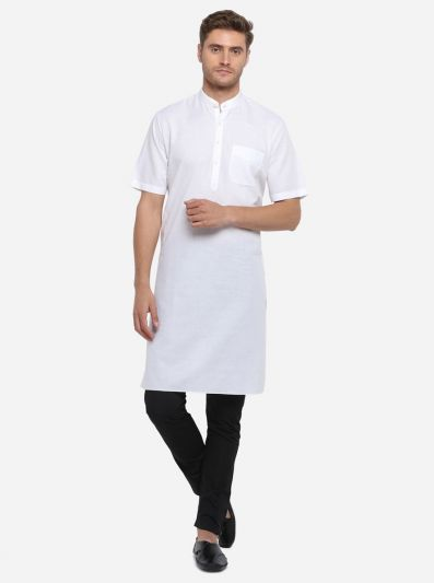 White Self Design Regular Fit Modi Kurta | JadeBlue