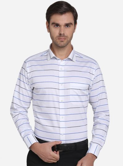 White & Blue Striped Slim Fit Formal Shirt  | Metal