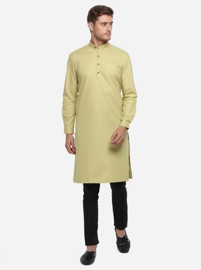 Light Mustard Self Design Regular Fit Modi Kurta | JadeBlue