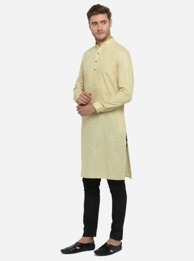 Light Yellow Self Design Regular Fit Modi Kurta | JadeBlue