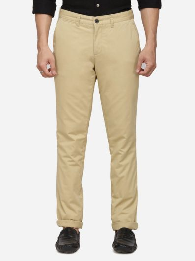 Taupe Solid Uno Fit Casual Trouser | JadeBlue Sport