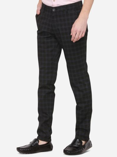 Black & Blue Checked Neo Fit Casual Trouser | Greenfibre