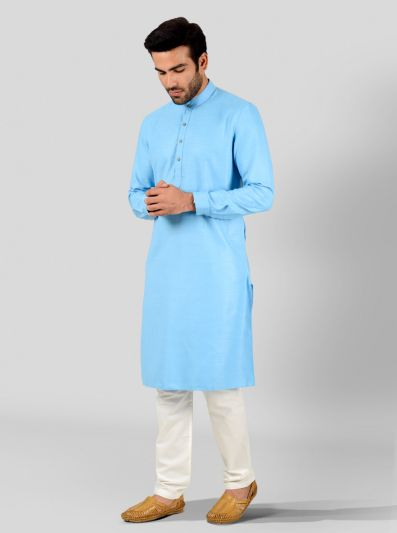 Turkish Blue Self Textured Regular Fit Modi Kurta | JadeBlue