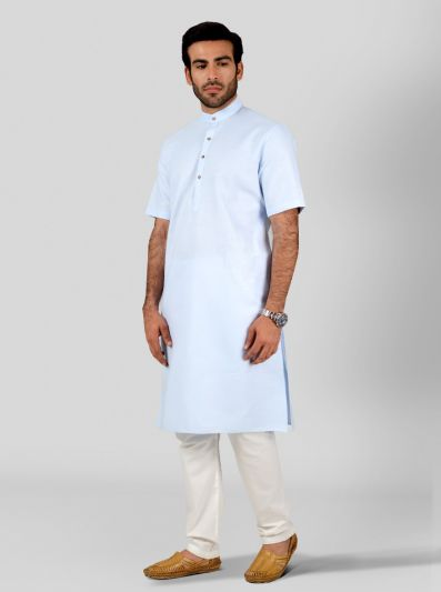 Sky Blue Self Textured Regular Fit Modi Kurta | JadeBlue