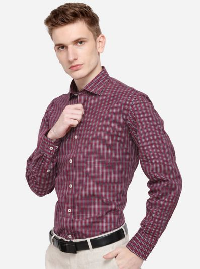 Maroon & White Checked Regular Fit Formal Shirt | Greenfibre
