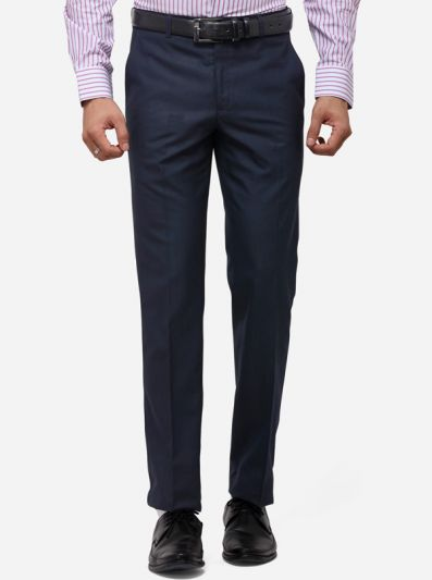 Navy Blue Slim Fit Checked Formal Trouser | Greenfibre