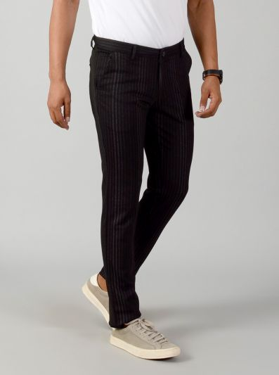 Black Striped Slim Fit Casual Trouser | JB Sport