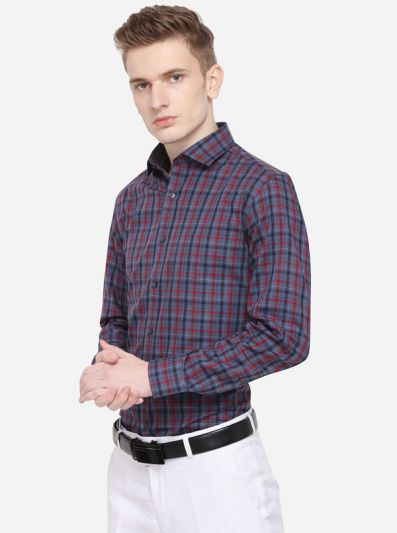 Grey & Red Checked Slim Fit Formal Shirt | JadeBlue