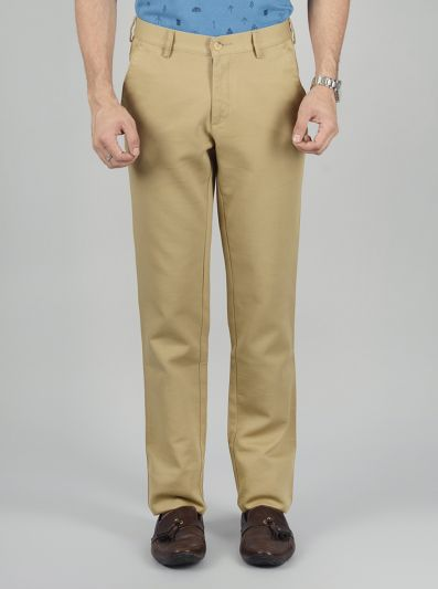 Khaki Solid Slim Fit Casual Trouser | Greenfibre