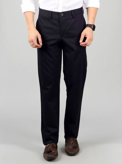 Black Solid Slim Fit Casual Trouser | JB Sport