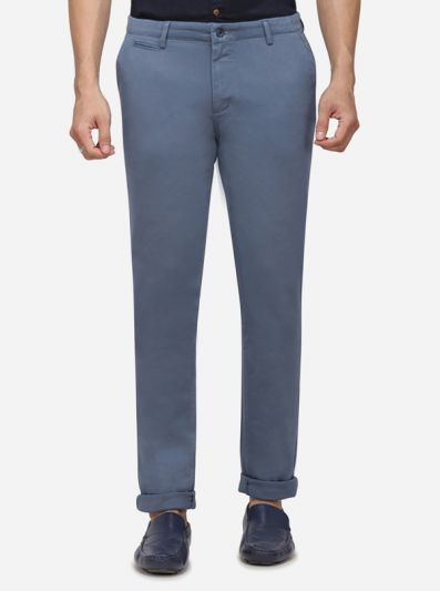 Teal Blue Solid Super Slim Fit Casual Trouser | Greenfibre