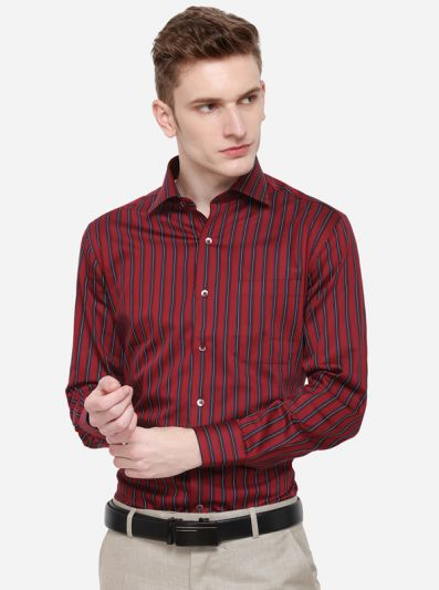 Red & Blue Striped Slim Fit Formal Shirt | Metal