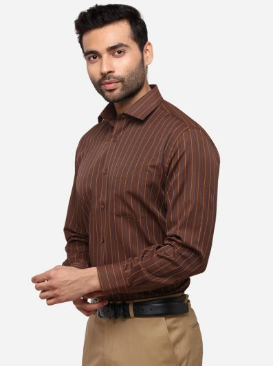 Brown Regular Fit Striped Formal Shirt | Greenfibre