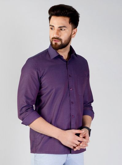 Purple Checked Regular Fit Formal Shirt | Greenfibre