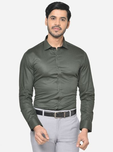 Dark Green Printed Slim Fit Party Wear Shirt | Greenfibre