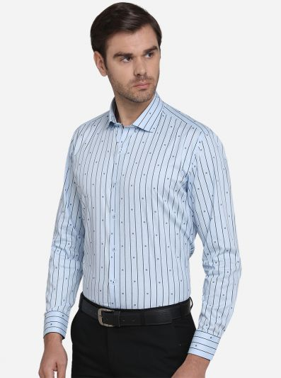 Sky Blue Printed Slim Fit Party Wear Shirt    Greenfibre