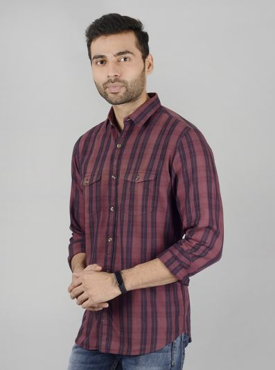 Brown Checked Slim Fit Casual Shirt | JB Sport